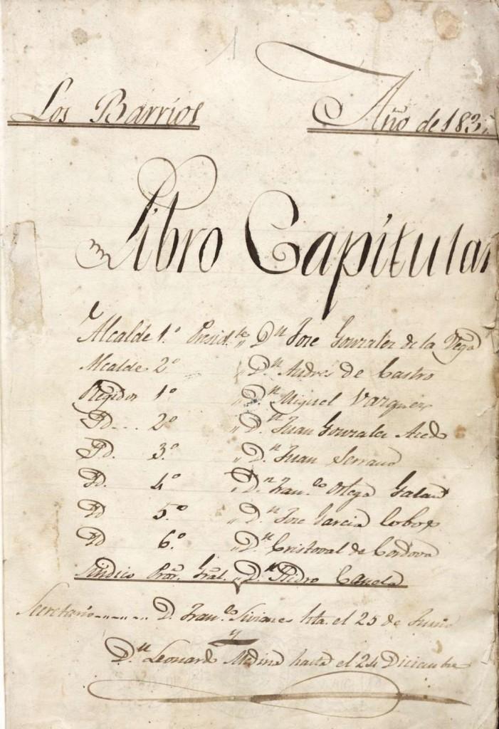 Portada del Libro Capitular de 1837 (FILEminimizer)